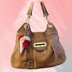 Auth. Dolce&Gabbana Camel Leather Shoulder Bag